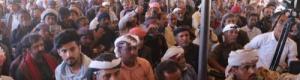 حشود الطلح يطالبون بعودة النخبة وطرد الإخوان ومواجهة الحوثي